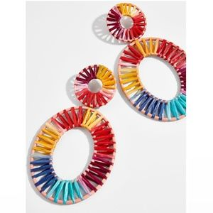 "Baublebar || ""Kiera"" Raffia Hoop Earrings"